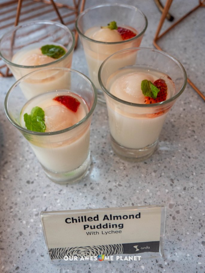 Chilled Almond Pudding with Lychee