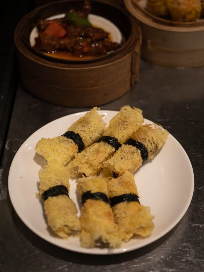 Wagyu beef, mango roll