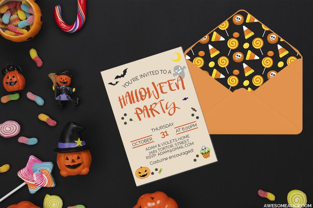 Anniversary birthday cheer up congratulations engagement events & occasions friendship get well good luck grandparents day holidays. Free Editable Halloween Party Invitations And Printable Envelope Liners