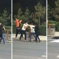 Woman Takes a Hit from a Beer Case While Trying to Stop a Fight