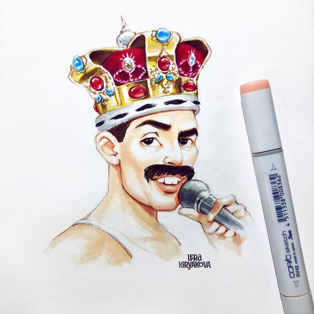 Russian Artists Distinctive Drawing Style Infuses A New Life Into Celebrity Cartoons 3