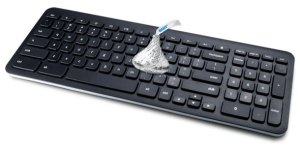 chocolate kiss on keyboard