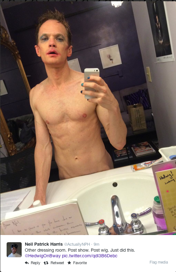 @ActuallyNPH - Other dressing room. Post show. Post wig.  Just did this.