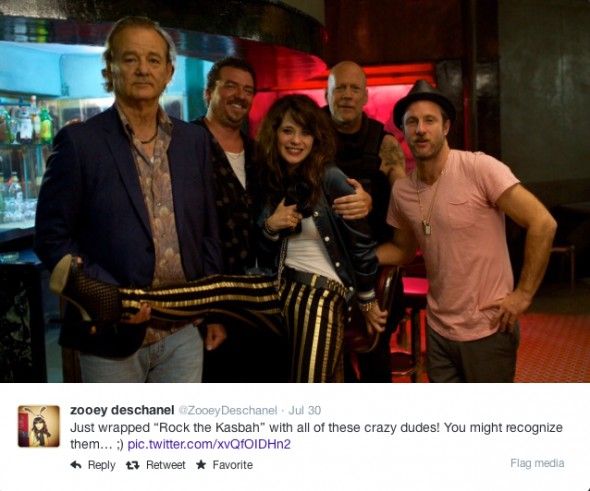 """@ZooeyDeschanel - Just wrapped """"Rock the Kasbah"""" with all of these crazy dudes! You might recognize them… ;)"""