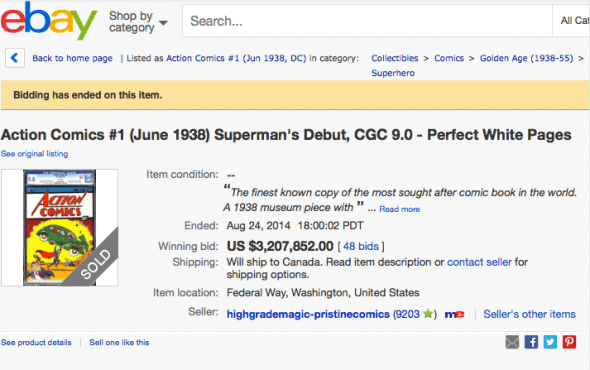 Action Comics #1 on eBay