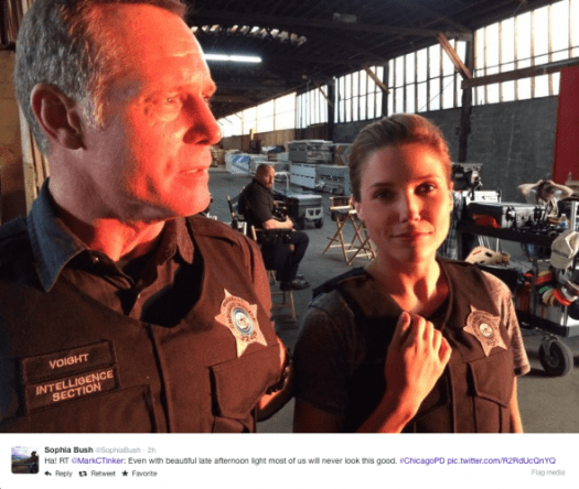 @MarkCTinker - Even with beautiful late afternoon light most of us will never look this good. #ChicagoPD @sophiabush - Ha!