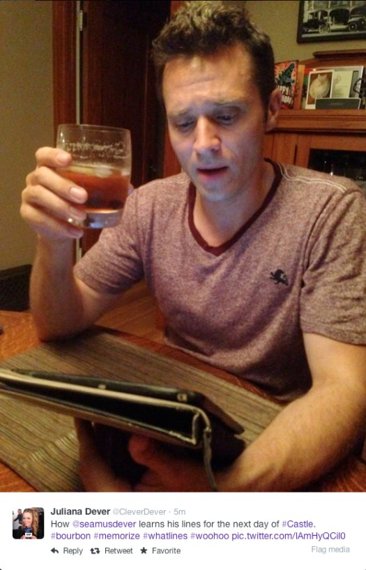@CleverDever - How @seamusdever learns his lines for the next day of #Castle. #bourbon #memorize #whatlines #woohoo