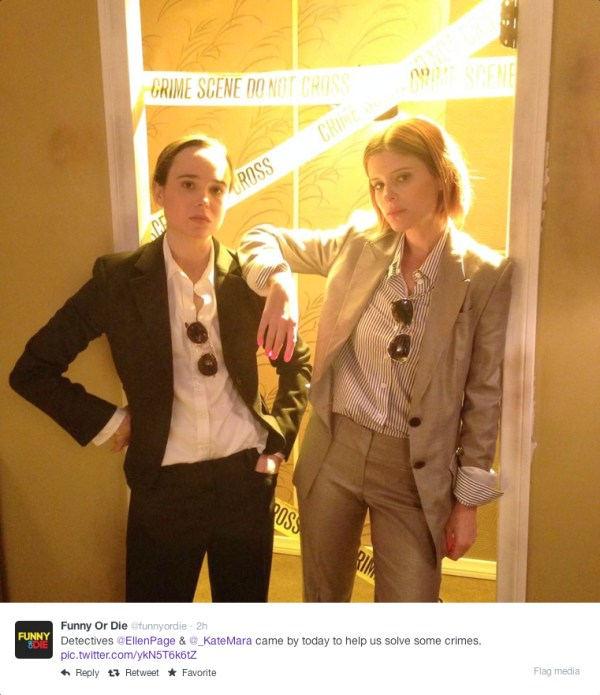 @funnyordie - Detectives @EllenPage & @_KateMara came by today to help us solves some crimes.