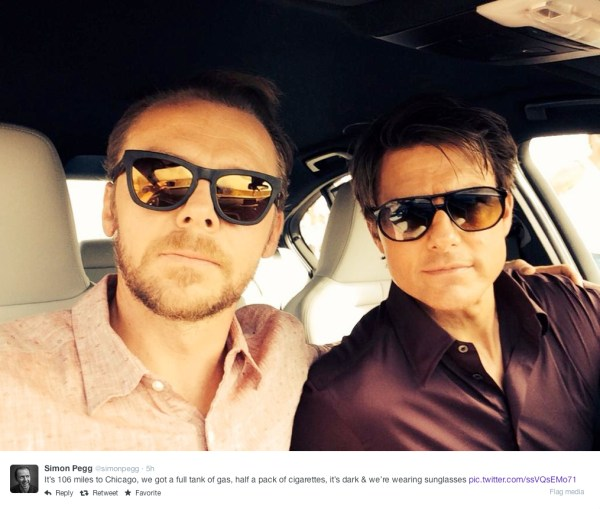 @simonpegg - It's 106 miles to Chicago, we got a full tank of gas, half a pack of cigarettes, it's dark & we're wearing sunglasses