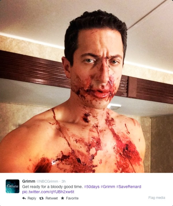 @NBCGrimm - Get read for a bloody good time. #50days #Grimm #SaveRenard