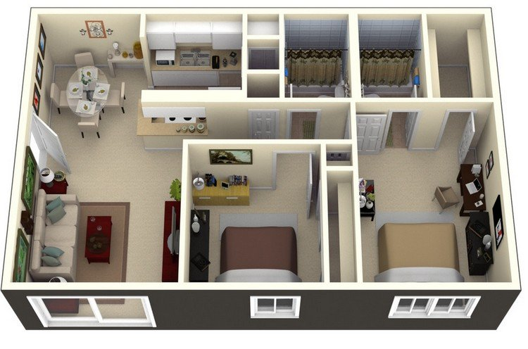 19 Awesome 3D Apartment Plans With Two Bedrooms