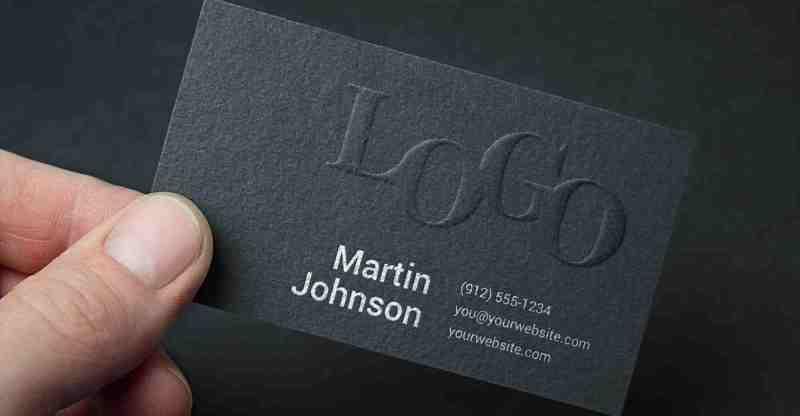 Photorealistic embossed black business card mockup awesome mockups colourmoves