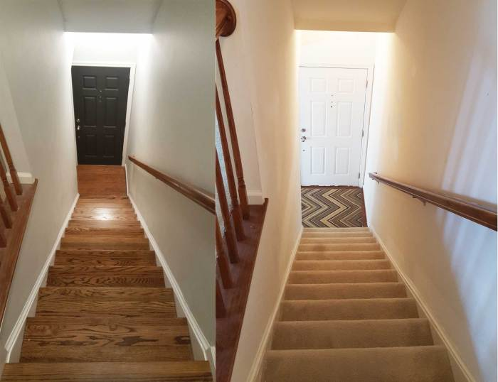 Before and after picture picture of carpet on stairs to red oak hardwood floors