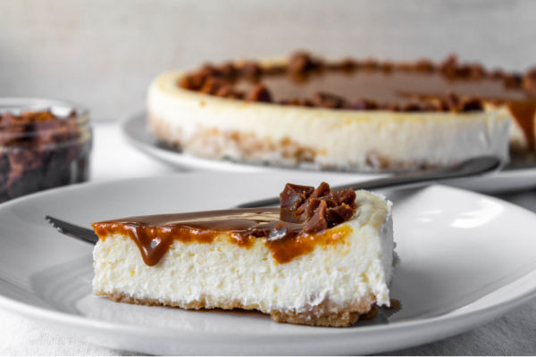 A slice of Caramel Toffee Cheesecake