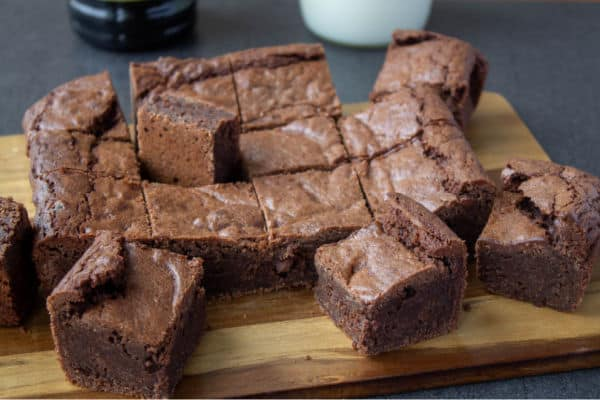 Kahlua Brownies arranged on a wooden tray