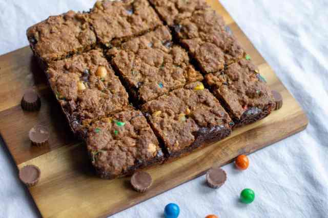 Monster Cookie Bars with candy