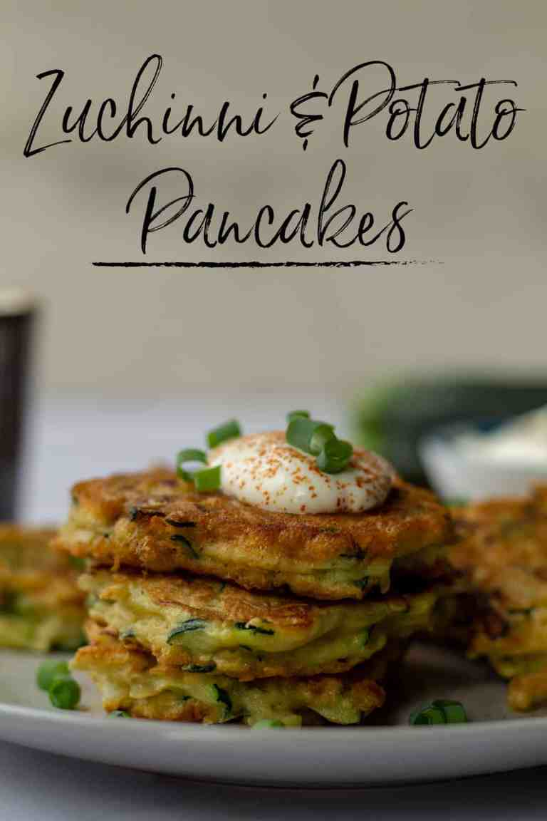 Zuchinni & Potato Pancakes with text