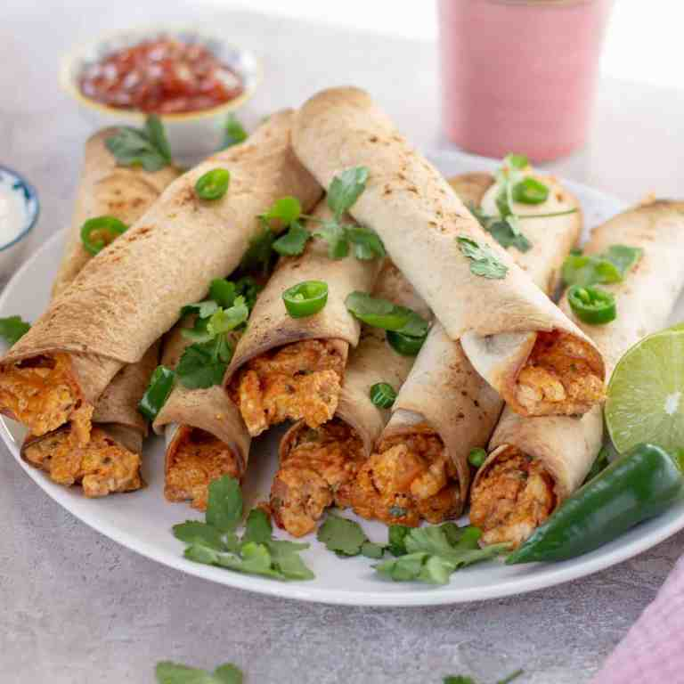 Baked Chicken Taquitos with cilantro and chili