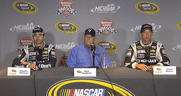 Jimmie Johnson, Rick Hendrick and Chad Knaus