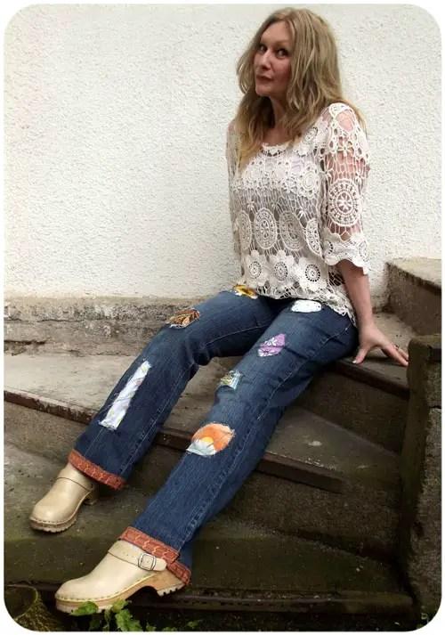 Easy DIY patchwork jeans refashion