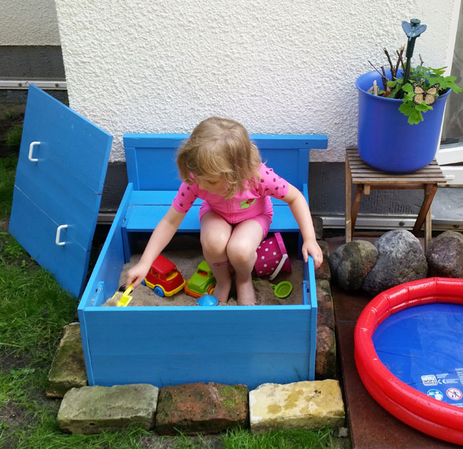 Upcycled sandbox DIY