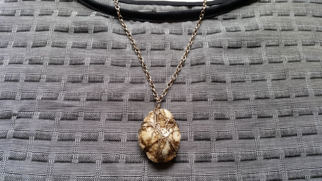 Upcycled caged stone necklace