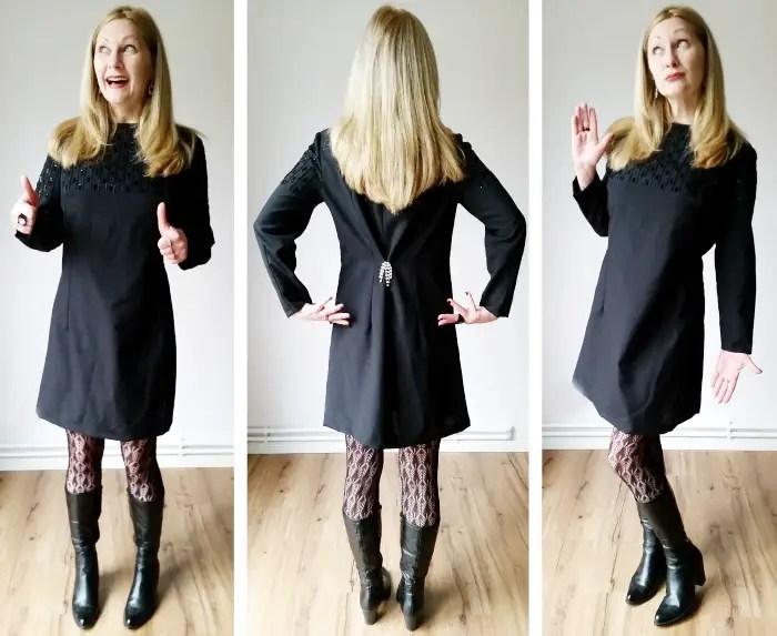 vintage black beaded shift dress refashion after