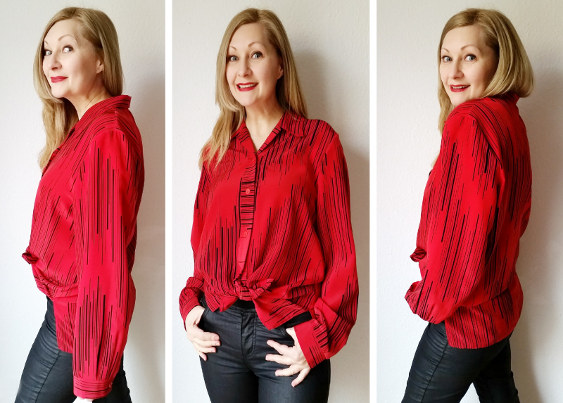 An easy no-sew blouse refashion