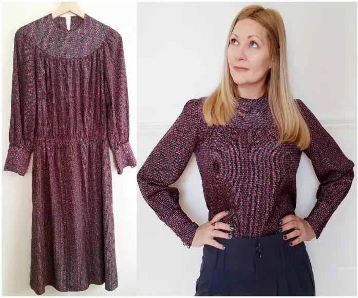 Easy Vintage Dress to Blouse Refashion Tutorial