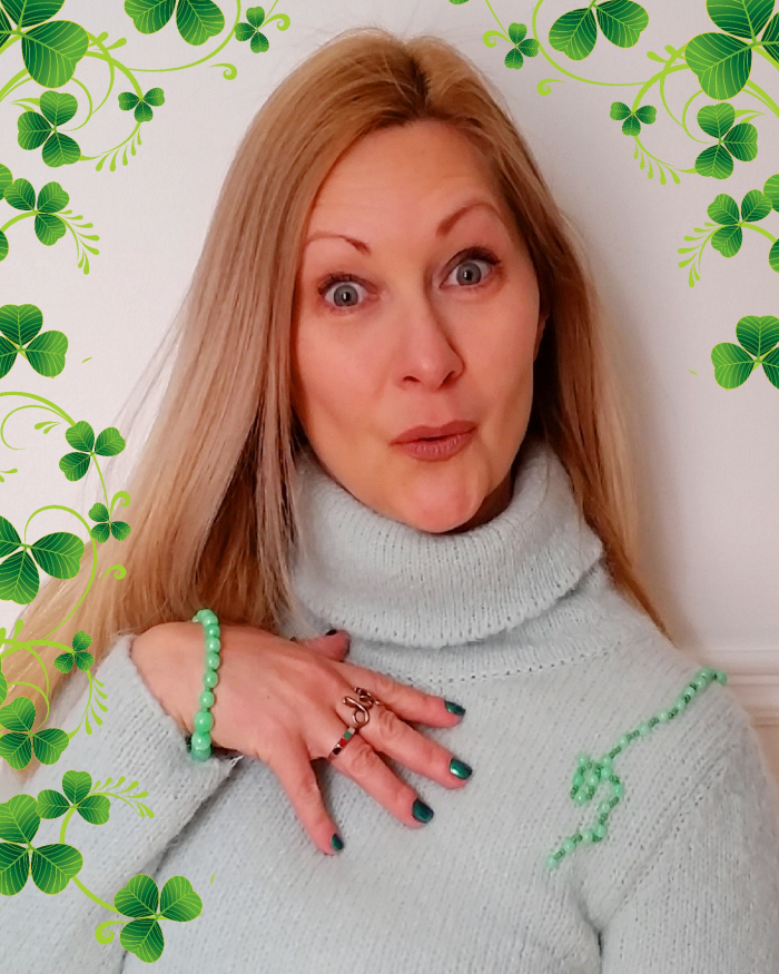 Easy DIY Beaded Sweater Refashion for St. Patrick's Day