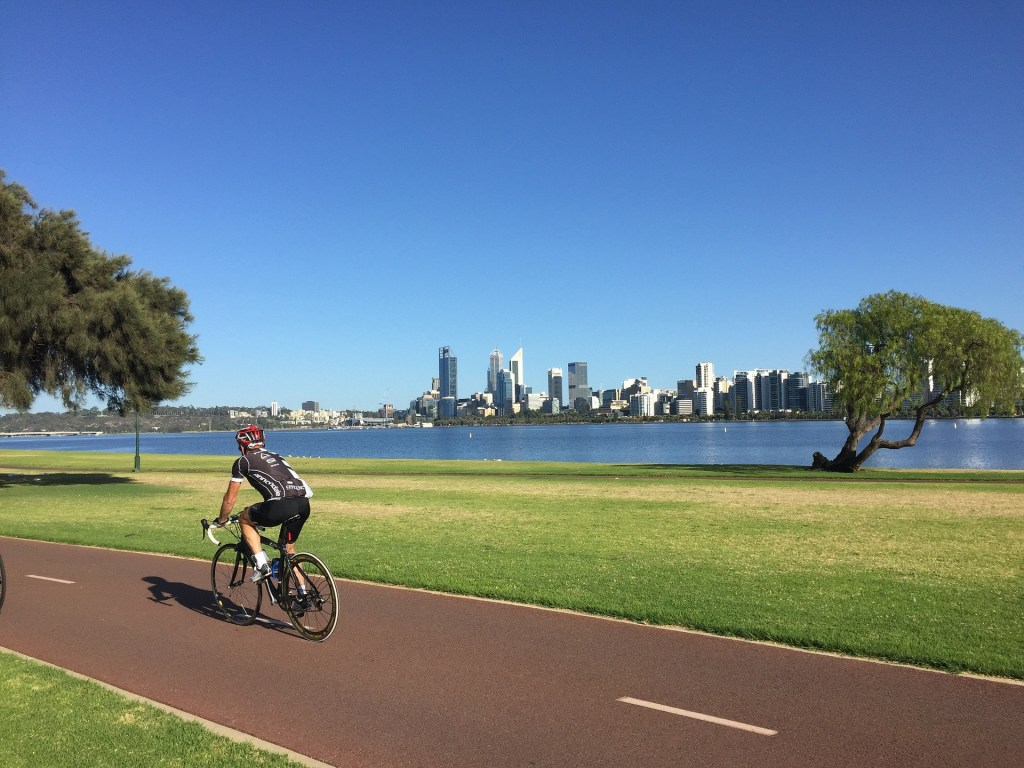 Cycling along Swan River Perth