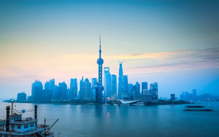 shanghai skyline in daybreak