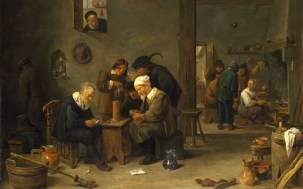 Full title: Two Men playing Cards in the Kitchen of an Inn Artist: David Teniers the Younger Date made: probably 1635-40 Source: http://www.nationalgalleryimages.co.uk/ Contact: picture.library@nationalgallery.co.uk Copyright (C) The National Gallery, London