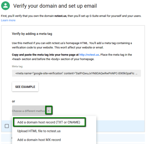 Add a domain host record G Suite
