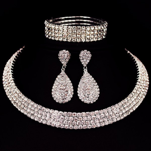 Classic Rhinestone Crystal Wedding Jewelry Set 4