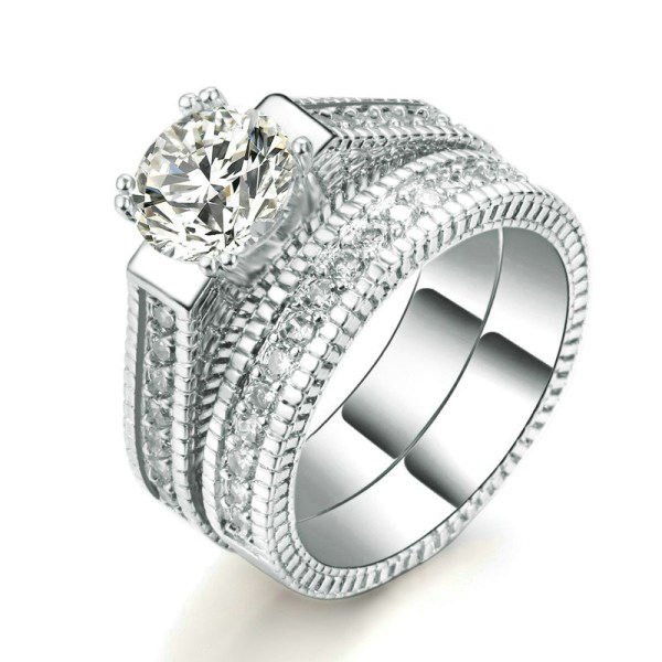 Luxury Women's Cubic Zirconia Wedding Rings Set 5