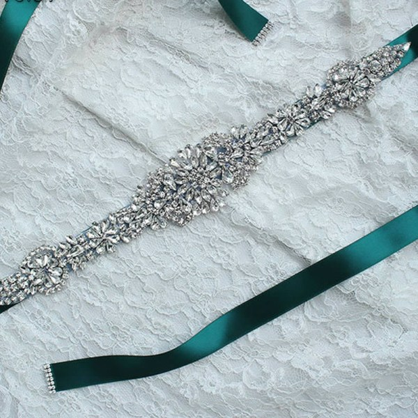 Satin Rhinestone Wedding Bridal Belt 5