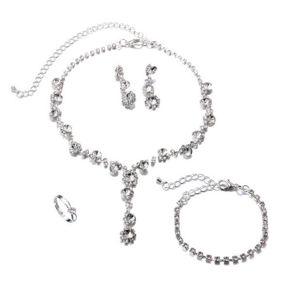 Silver Crystal Wedding Jewelry Set 4
