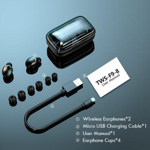 F9-8 TWS Bluetooth 5.0 Wireless Earbuds