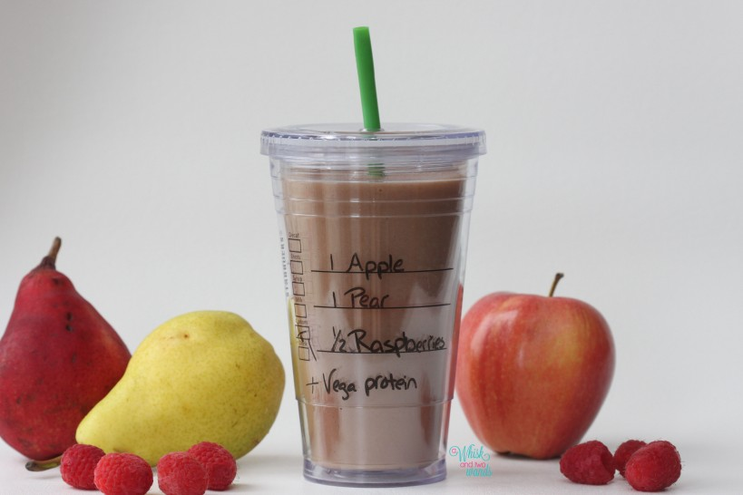 Apple Pear Raspberry Smoothie with protein