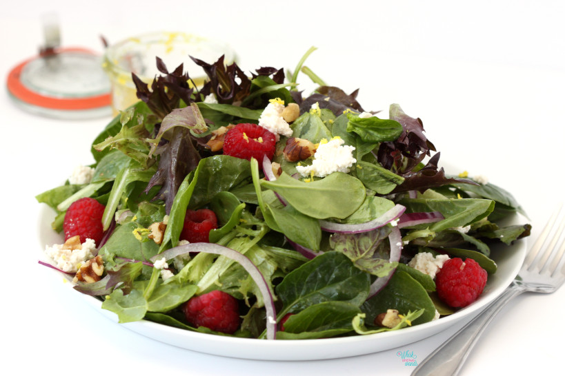 Raspberry Ricotta Salad with Lemon Vinaigrette (vegan)