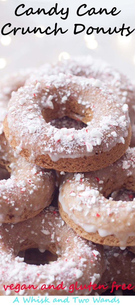 Candy Cane Crunch Donuts are delicious vegan (gluten free friendly) donuts that are perfect for Christmas morning or warming up with and a cup of coffee/cocoa after playing in the snow!