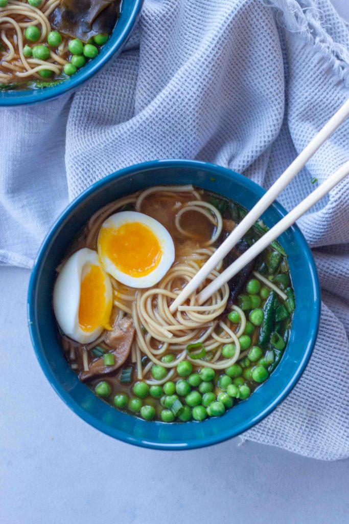 Superfood Mushroom Ramen Bowls with egg