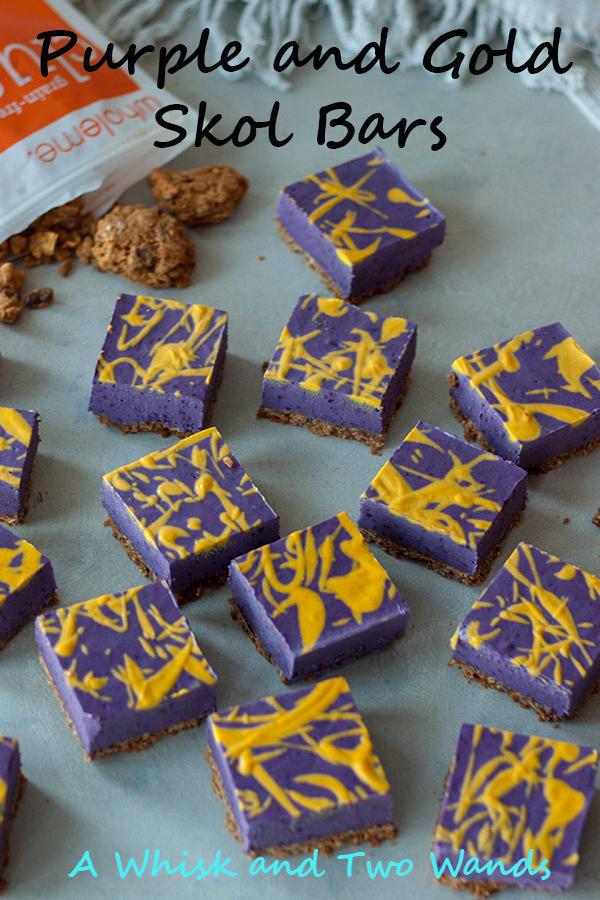 Purple and Gold No Bake Cheesecake Bars