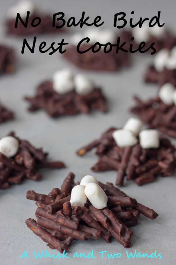 Fun twist on classic No Bake Bird Nest Cookies making them with chocolate, peanut butter, pretzels, adding a little healthy nutrition with chia seeds, and topping with marshmallows! These Easter, or springtime, cookies are vegan and allergen friendly.