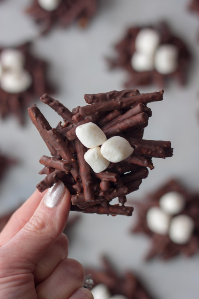 Pretzels, chocolate, marshmallow cookies