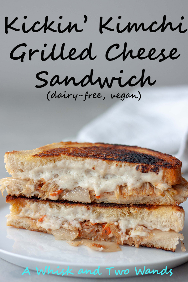Spicing up a comfort food classic grilled cheese with this dairy free (vegan) Kickin' Kimchi Grilled Cheese Sandwich. Gluten free friendly this sandwich is great for lunch or dinner.