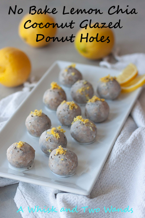 No Bake Chia Coconut Glazed Donut Holes
