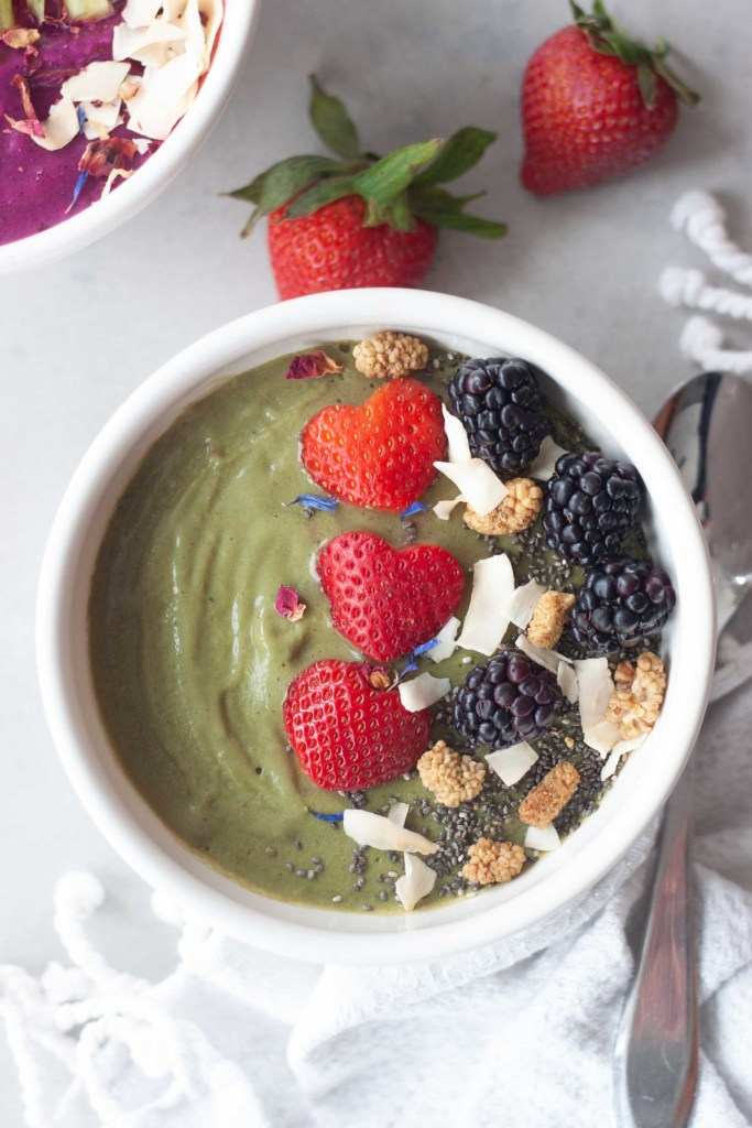 SuperMom Superfood Bowl, green version with matcha, berries, dired edible flowers, and coconut