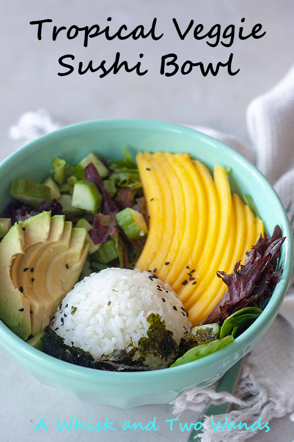 Veggie Sushi meets salad with a tropical twist in these Tropical Veggie Sushi Bowls! Packed with whole foods it's a filling alternative to your average salad and a quick and easy fix for those veggie sushi cravings. Versatile and customizable recipe is gluten free and vegan friendly.